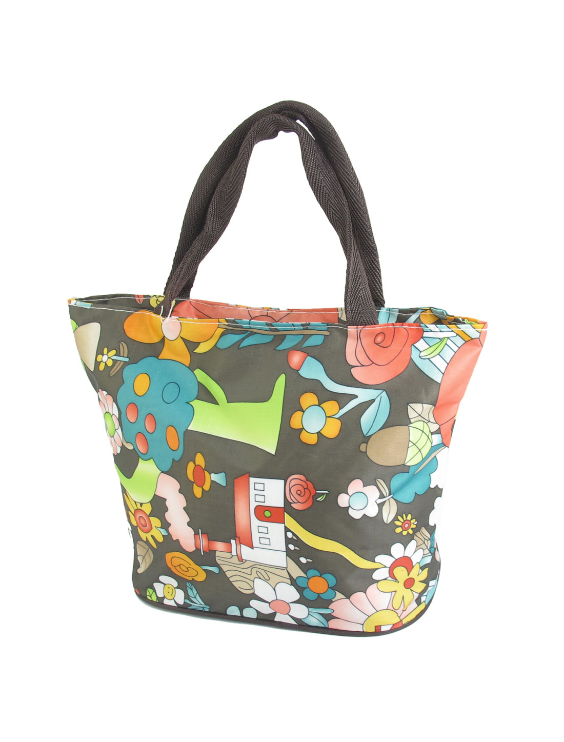 Women Zipper Closure Flower Pattern Oxford Cloth Tote Bag Handbag Colorful