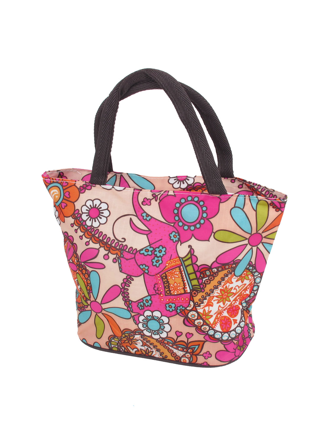 Ladies Elephant Flower Pattern Oxford Cloth Zip up Tote Bag Handbag Colorful
