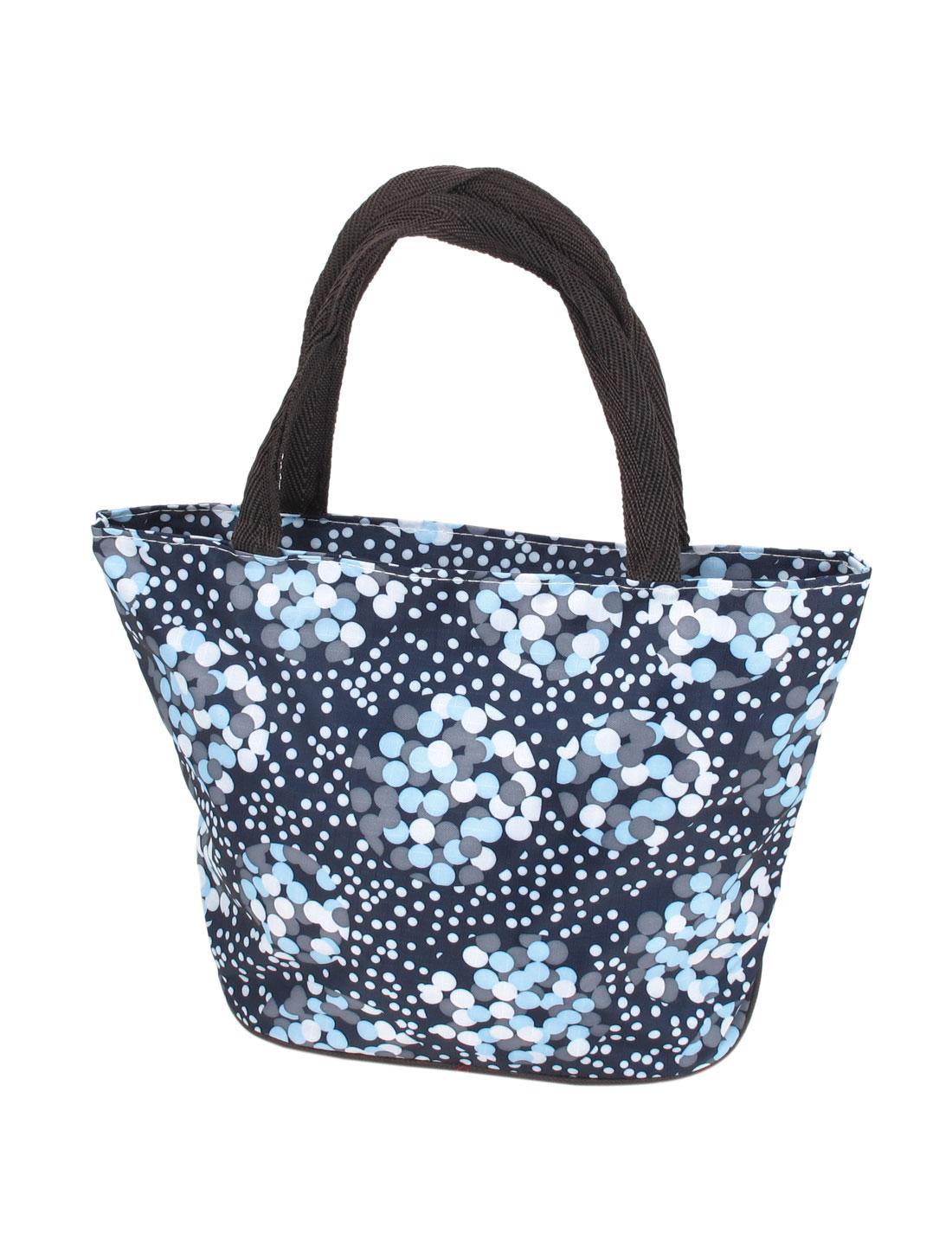 Ladies Dots Pattern Oxford Cloth Zippered Closure Bag Tote Bag Dark Blue