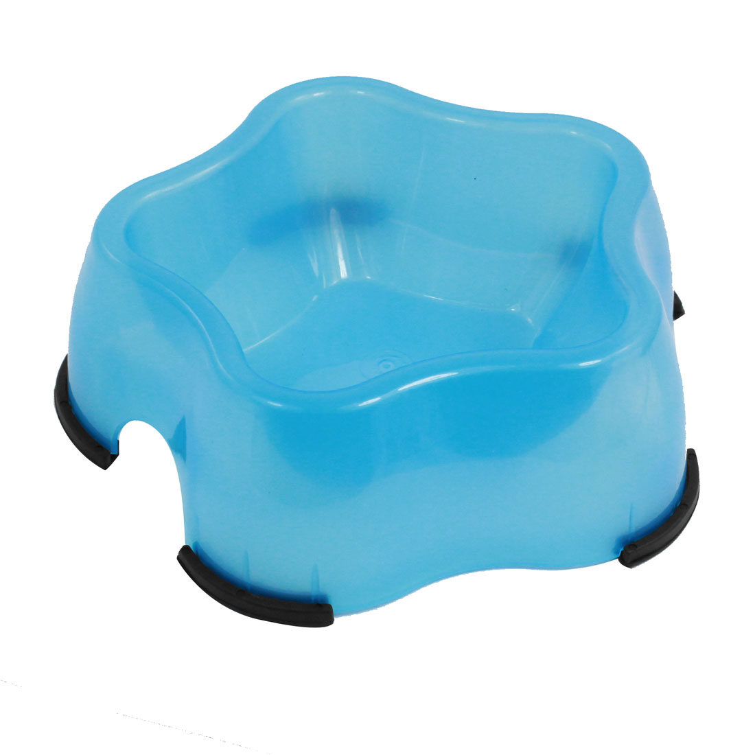 Blue Plastic Starfish Design Pet Dog Food Water Feeder Single Bowl Dish