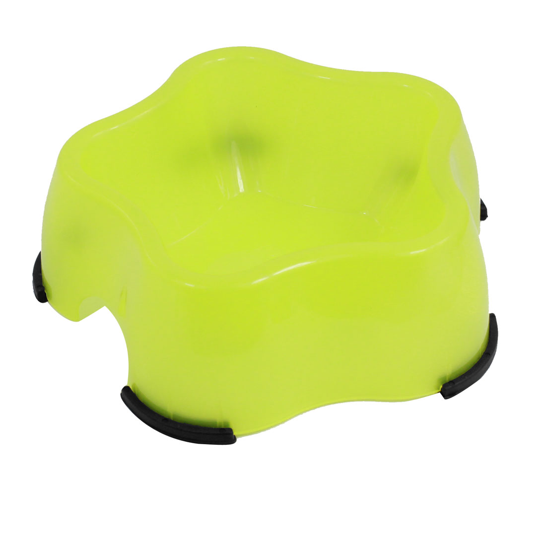 Yellow Plastic Starfish Design Pet Dog Food Water Feeder Single Bowl Dish