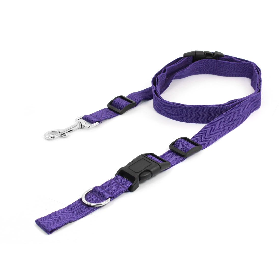 Purple Adjustable Nylon Dog Doggy Pet Lead Leash with Clip for Collar Harness