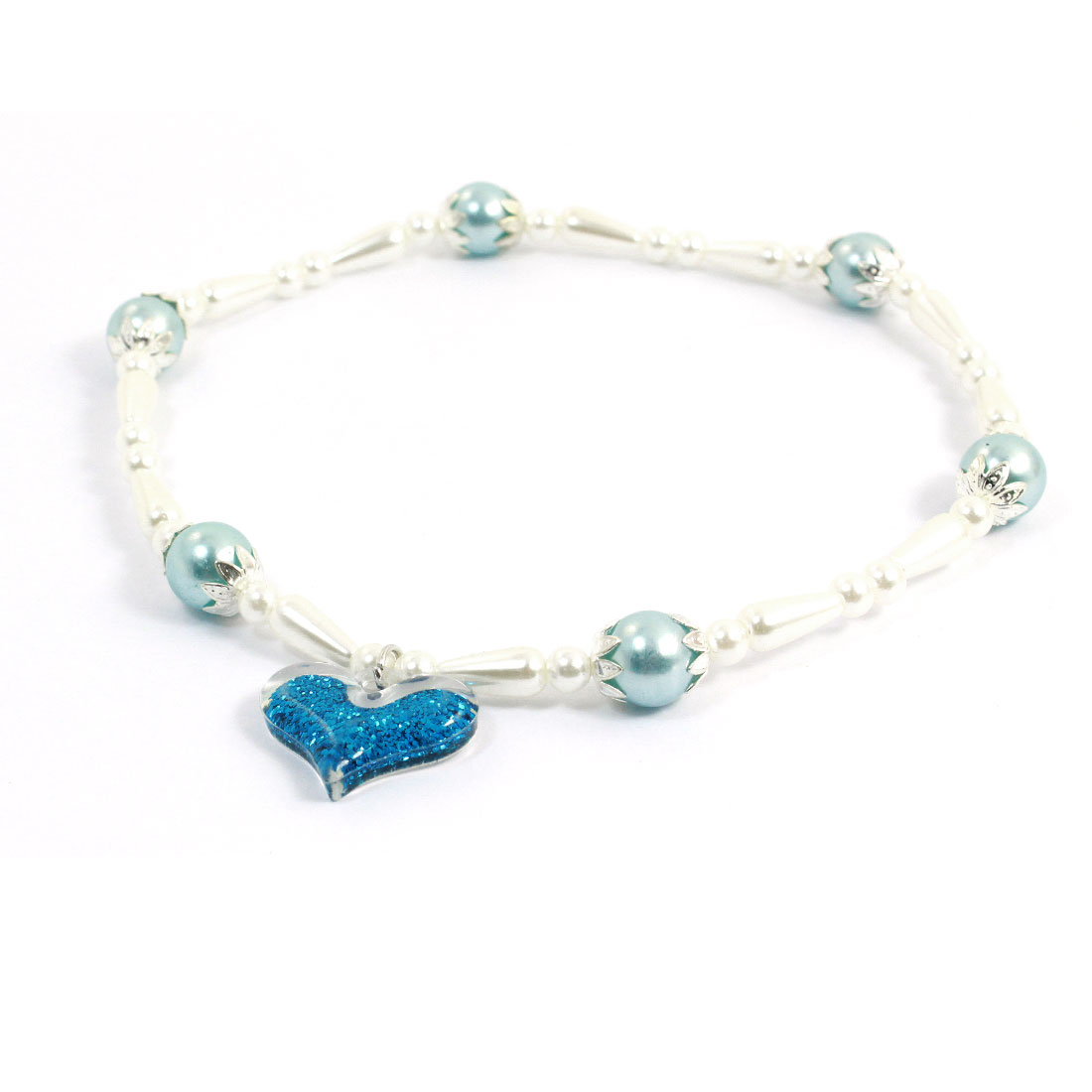 Heart Shape Pendant Decor Plastic Beads Linked Stretchy Pet Dog Necklace L Blue