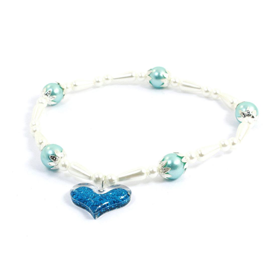 Heart Shape Pendant Decor Plastic Beads Linked Stretchy Pet Dog Necklace M Blue
