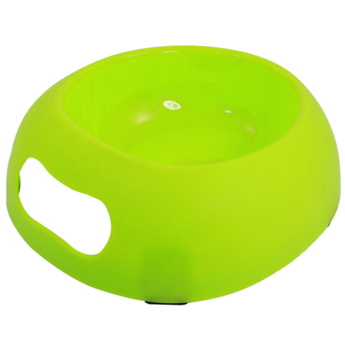 Yellow Green Plastic Egg Shape Food Water Feeder Bowl Dish for Pet Cat Dog