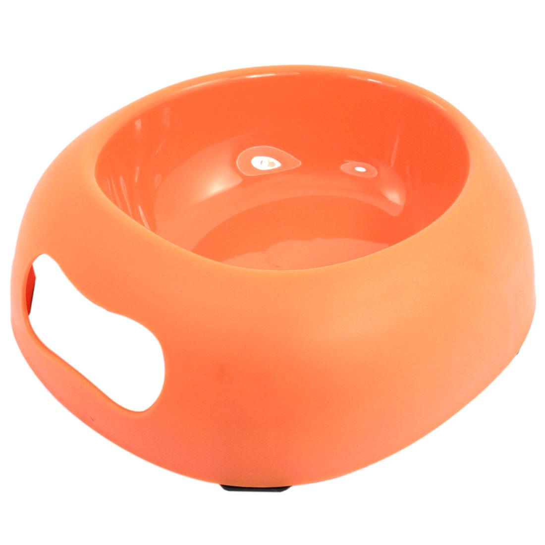 Orange Plastic Egg Shape Food Water Feeder Bowl Dish for Pet Cat Dog