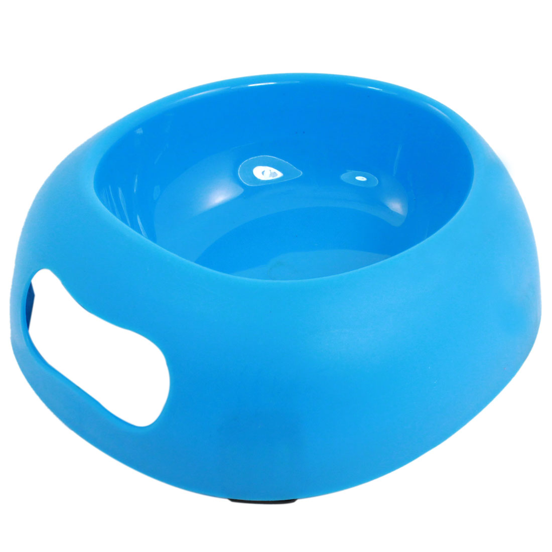 Blue Plastic Egg Shape Food Water Drinking Bowl Dish for Pet Cat Dog