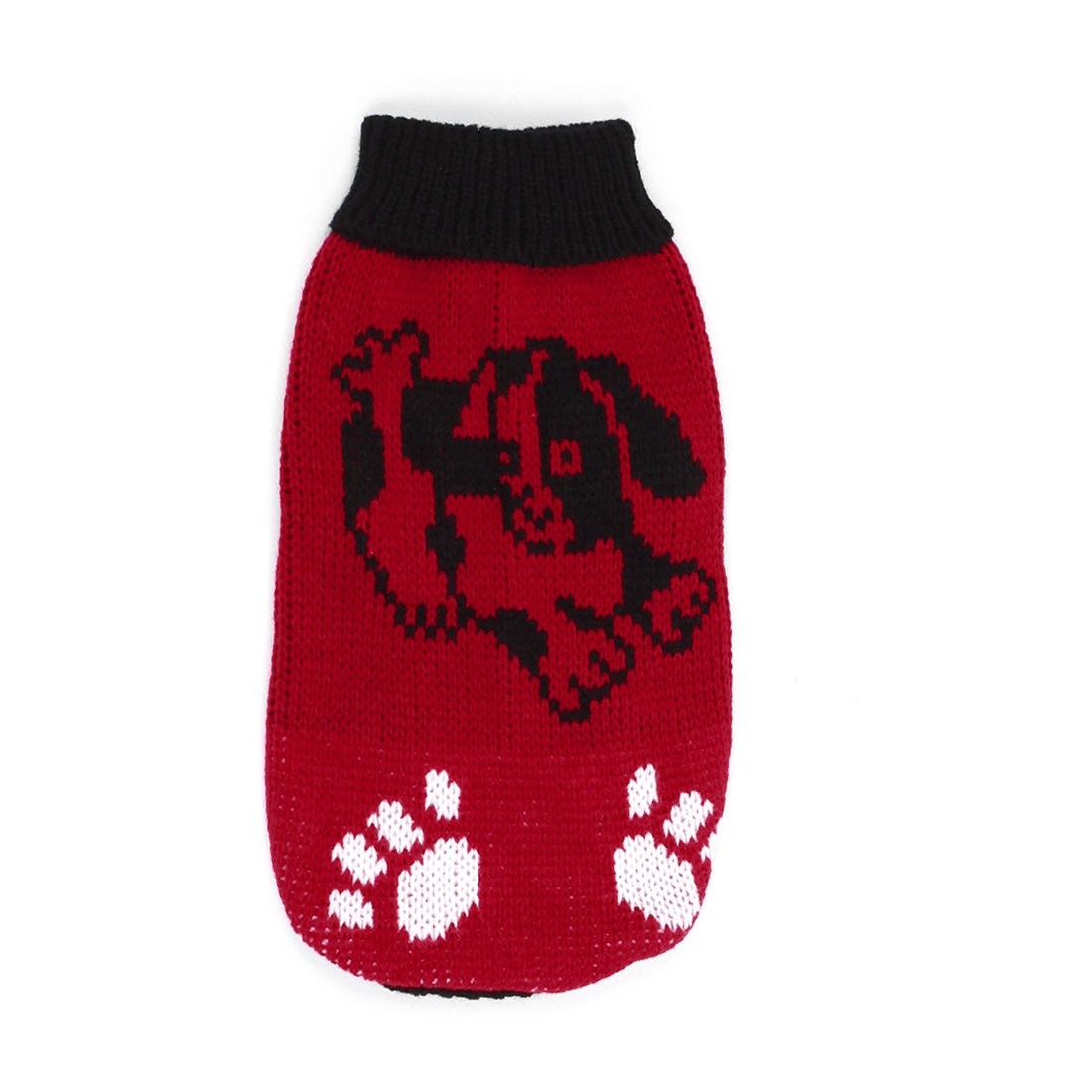 Dog Printed Sleeves Pet Doggy Clothes Apparel Black Red Size XS