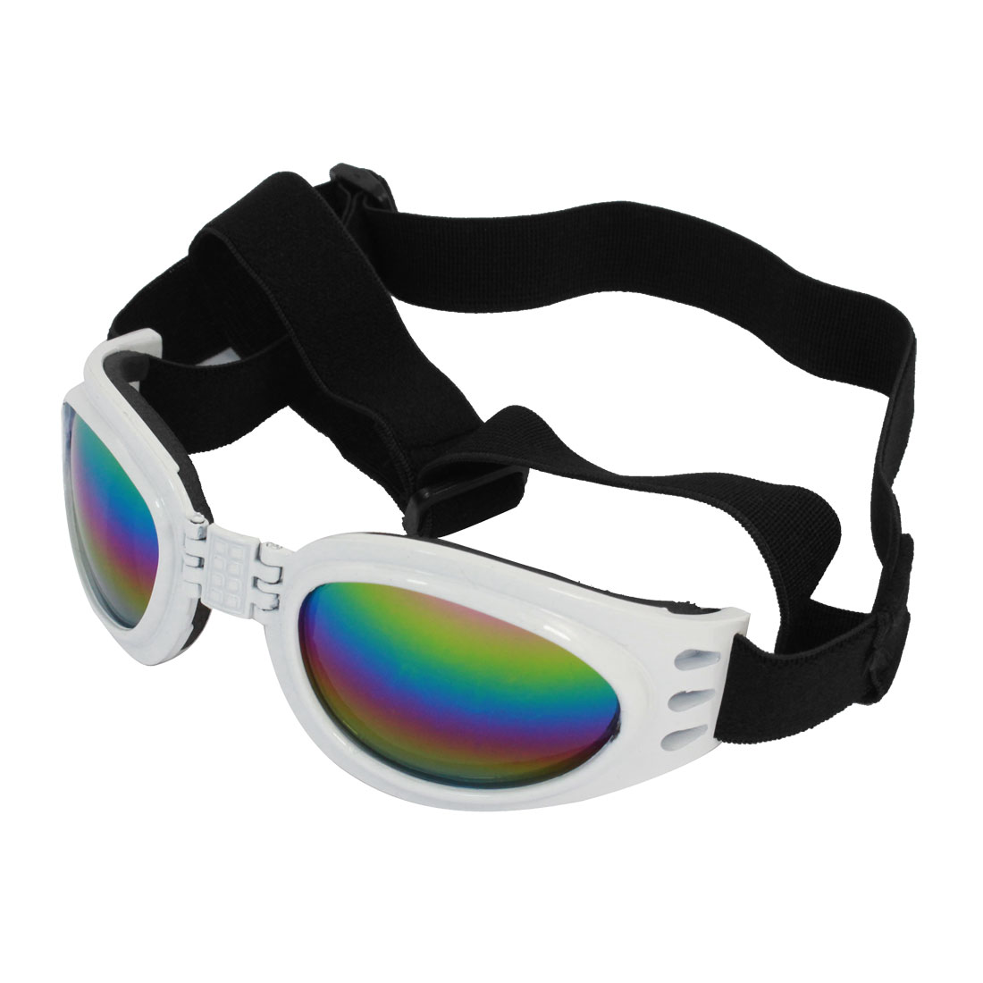 Adjustable Strap White Frame Pet Dog Puppy Eye Protective Sunglasses Goggles