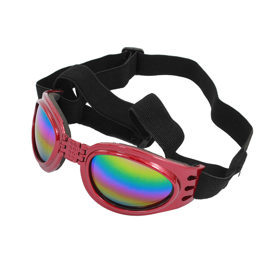 Adjustable Band Burgundy Frame Pet Dog Puppy Eye Protective Sunglasses Goggles