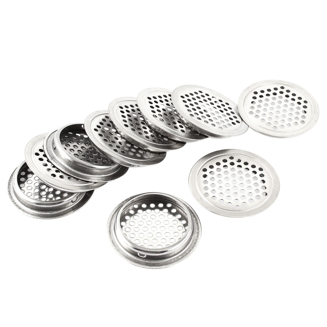 Kitchen 65mm Dia Stainless Steel Round Mesh Hole Air Vents Louver 10pcs