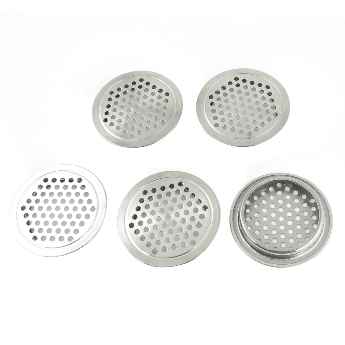Kitchen 65mm Dia Stainless Steel Round Mesh Hole Air Vents Louver 4 Pcs