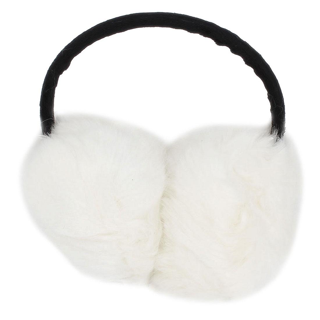 Plastic Frame White Soft Plush Fluffy Ear Warmers Earmuffs for Lady