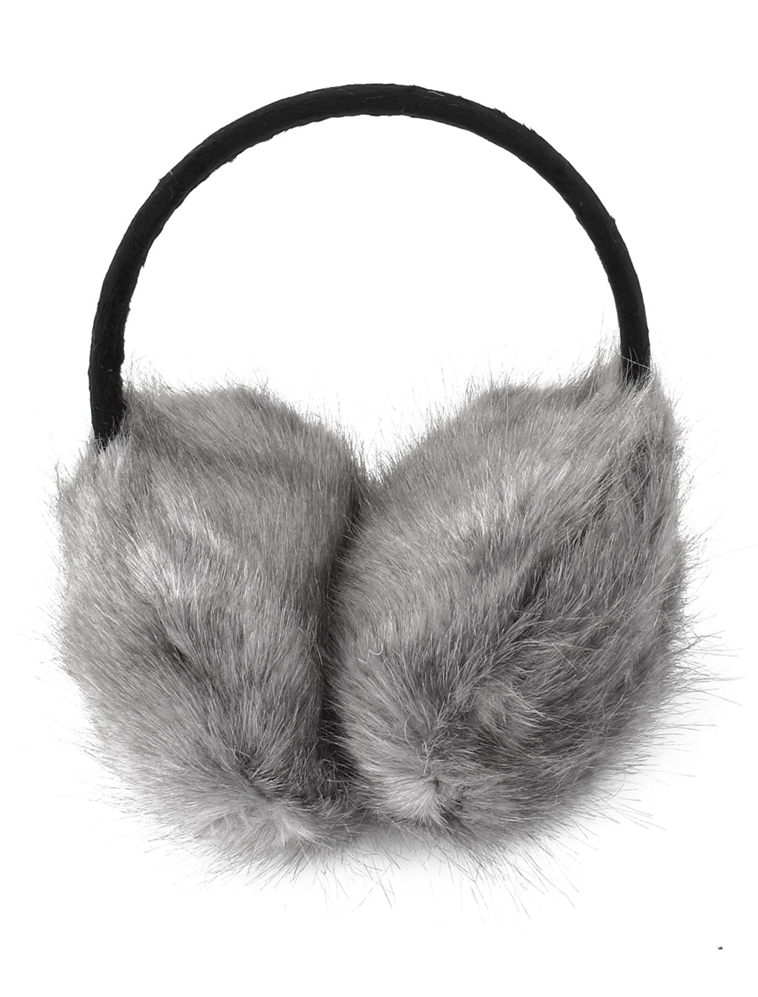 Plastic Frame Dark Gray Plush Fluffy Ear Warmers Earmuffs for Lady