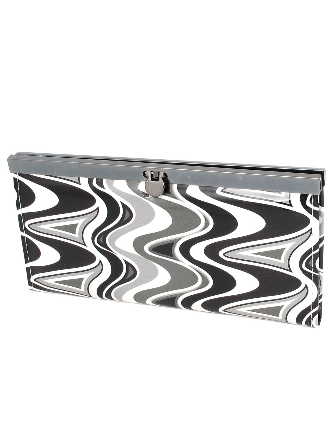 Wave Printed Faux Leather Purse Wallet Money Coin Bag Black White for Women