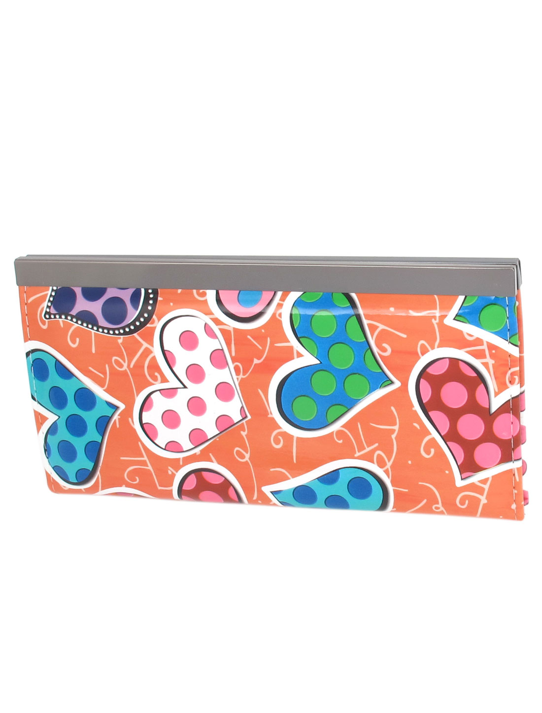 Lady Women Dotted Hearts Pattern Multicolor Faux Leather Purse Wallet Bag