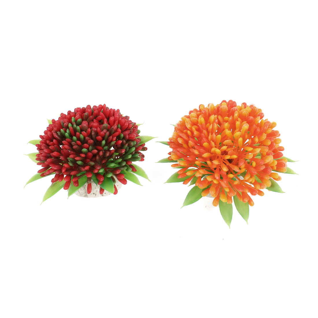 2 Pcs Orange Green Red Artificial Plastic Water Plant Ornament for Aquarium