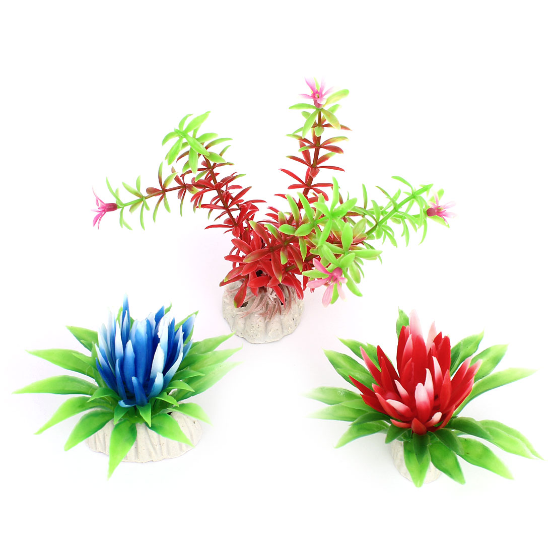 3 Pcs Green Blue Red Plastic Simulation Water Plant Ornament for Fish Tank