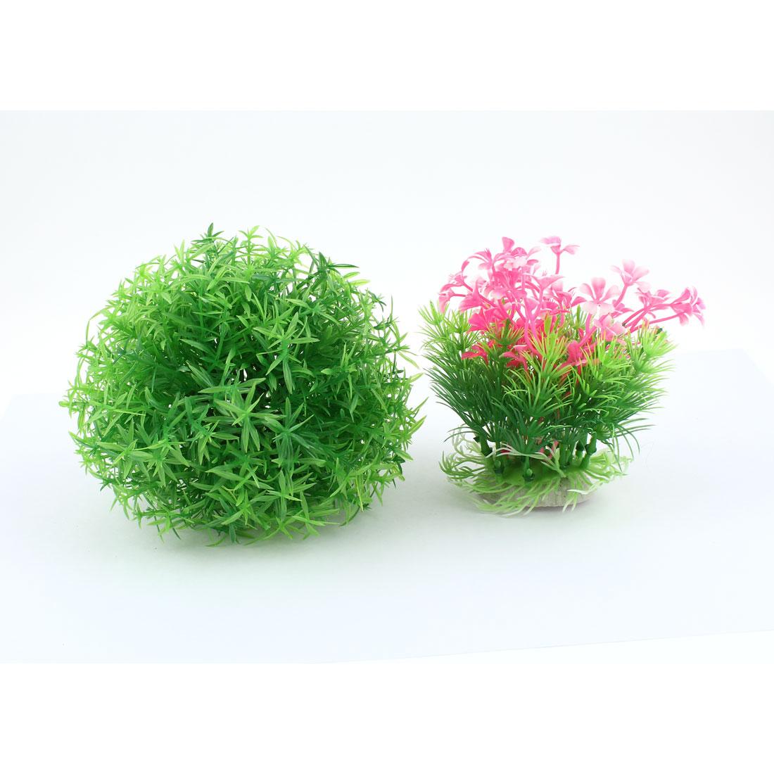 2pcs Emulational Green Pink Plastic Water Plants Ornament for Aquarium
