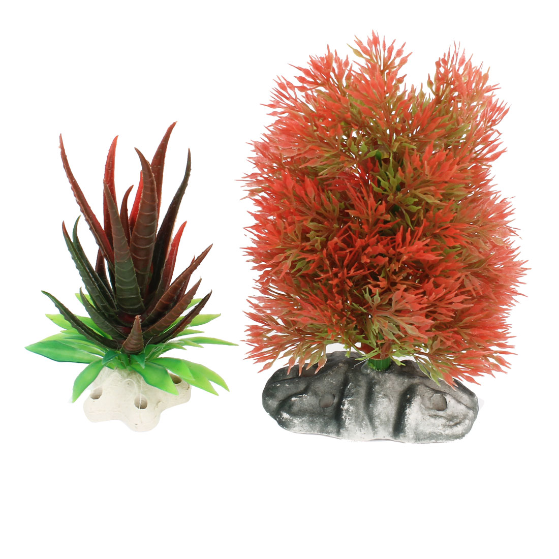 2 Pcs Red Green Plastic Tree Grass Underwater Plants Ornament for Aquarium