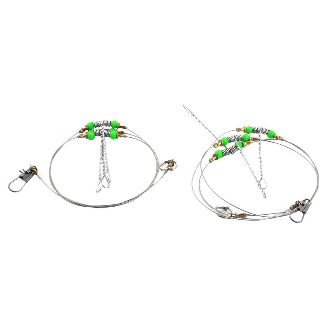2 Pcs 58cm Stainless Steel Fishing Trace Fish Wire Spinner Leader w Interlock Snap