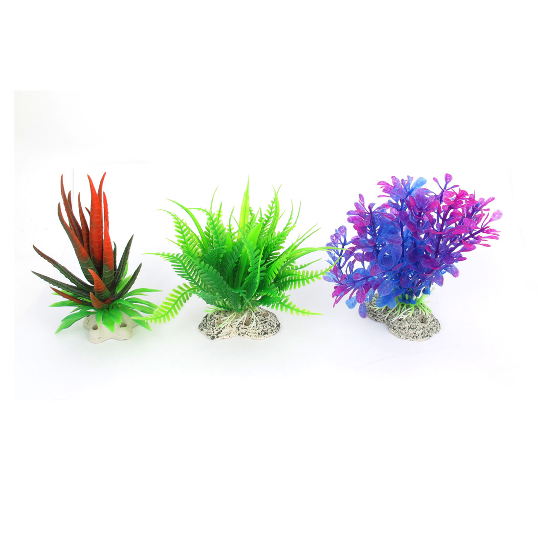 3 in 1 Assorted Plastic Water Plants Green Purple Red for Aquarium