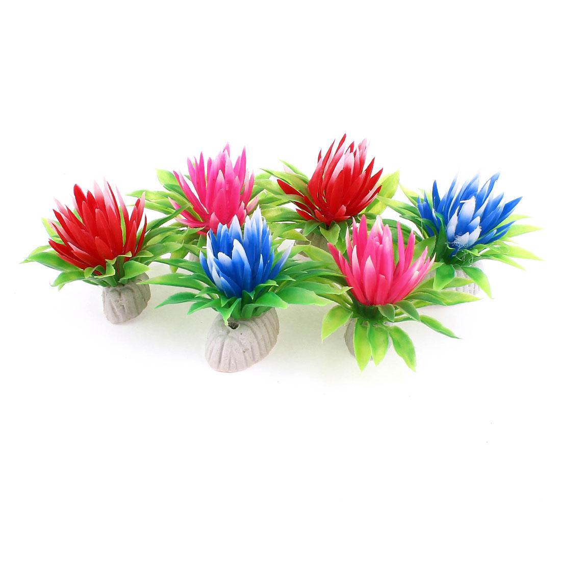 """6pcs Aquarium Assorted Color Plastic 2.4"""" Height Aquatic Plant Grass"""