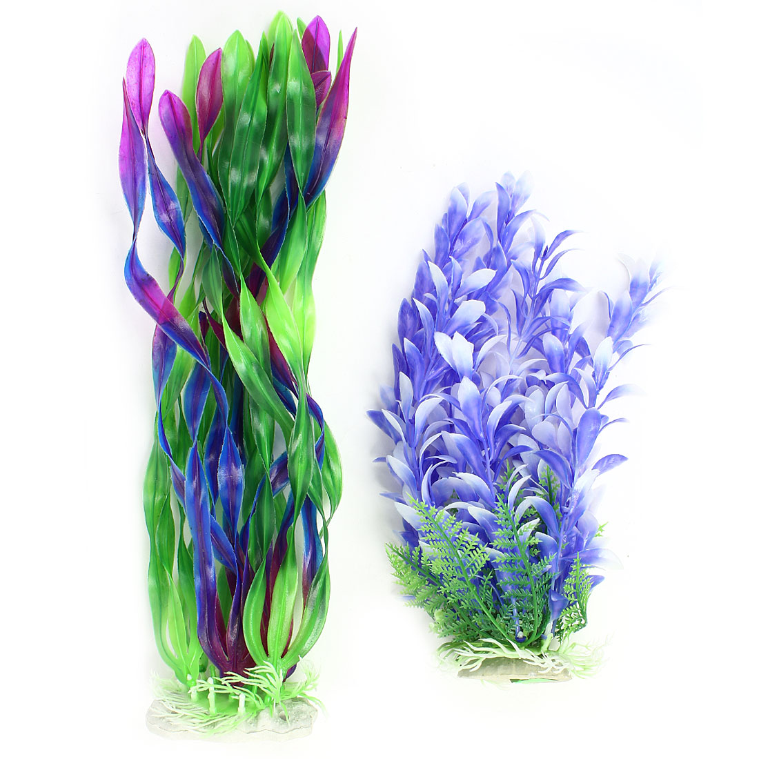2PCS Purple Blue Green Plastic Plant Decor for Aquarium Fish Tank