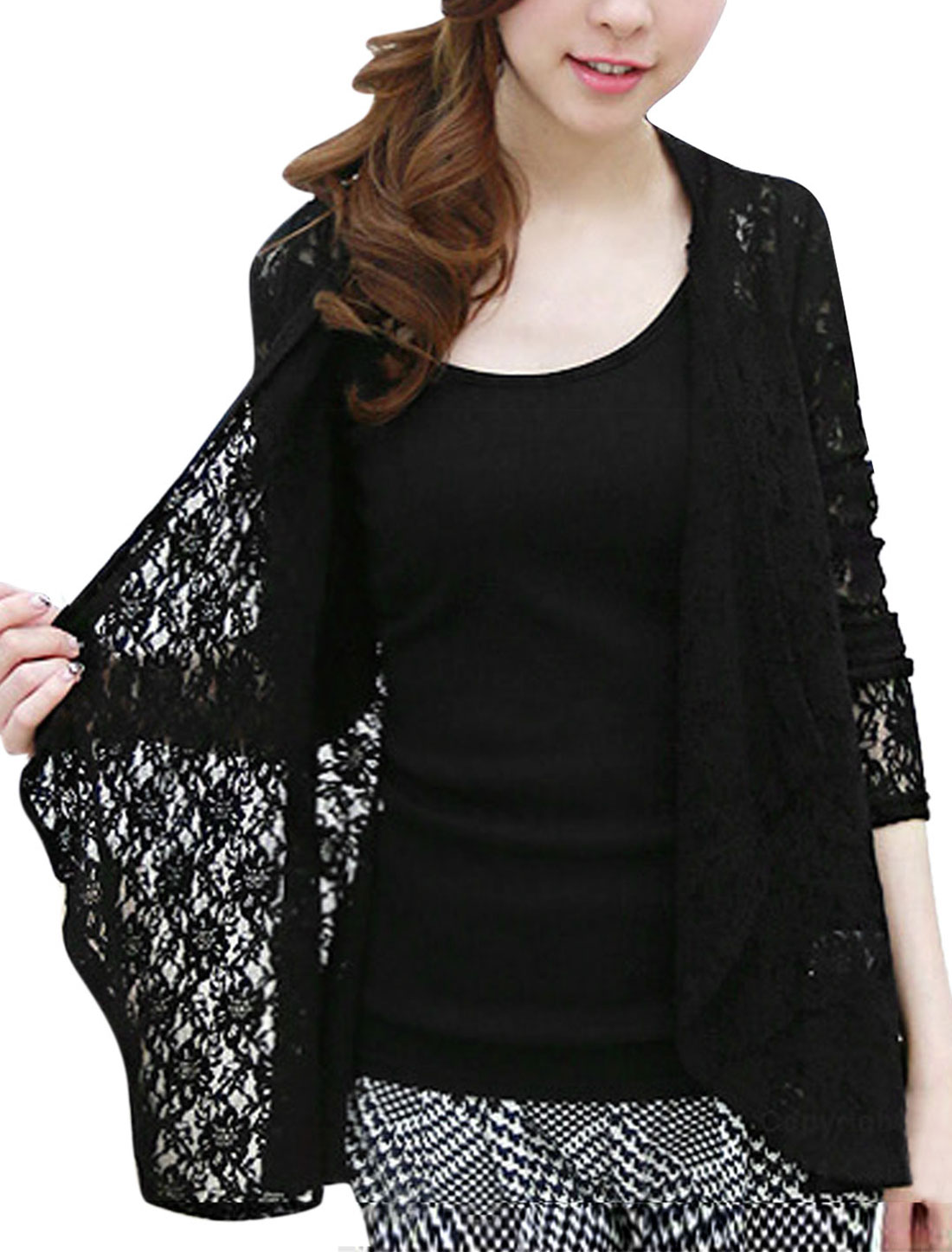 Women Long Sleeve Front Opening See Through Lace Cardigan Black XS
