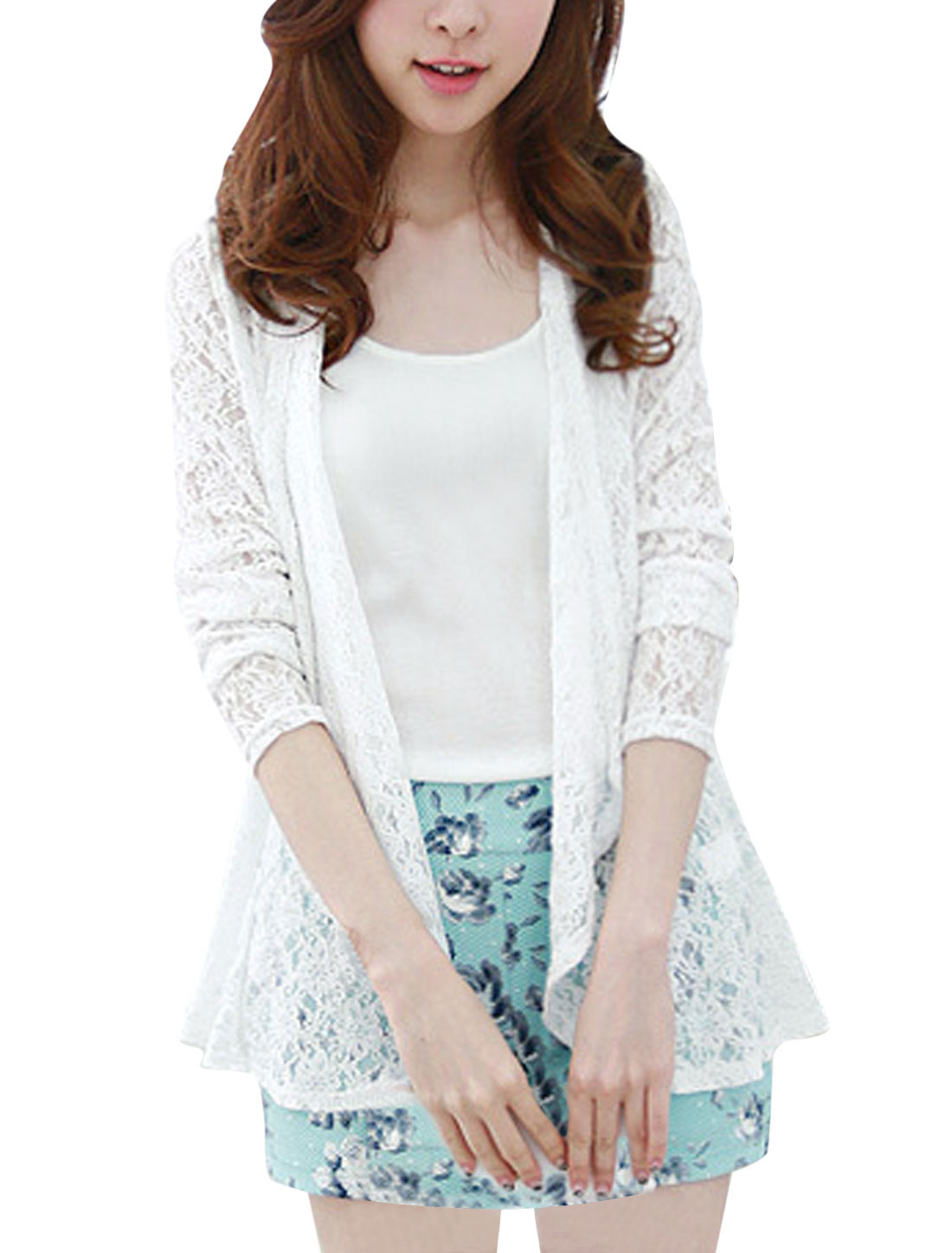 Lady Long Sleeve Semi Sheer Elegant Lace Cardigan White XS