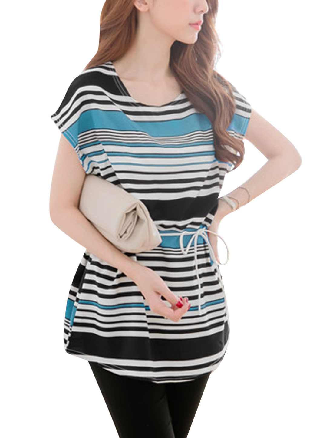 Lady Round Neck Stripes Pattern Color Block Casual Tunic Top w Belt Blue S