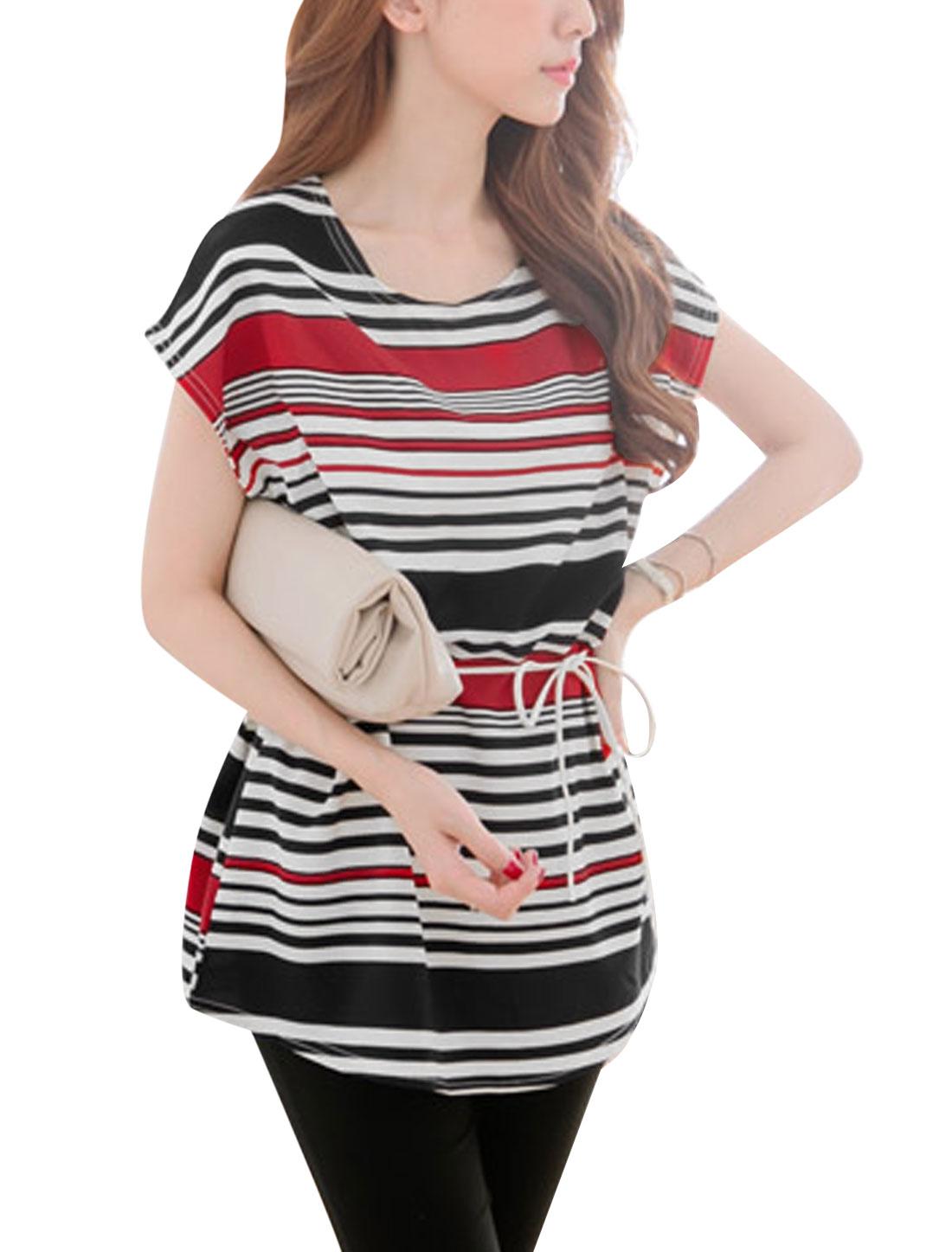 Lady Short Sleeve Stripes Pattern Mesh Splice Leisure Tunic Top w Belt Red S