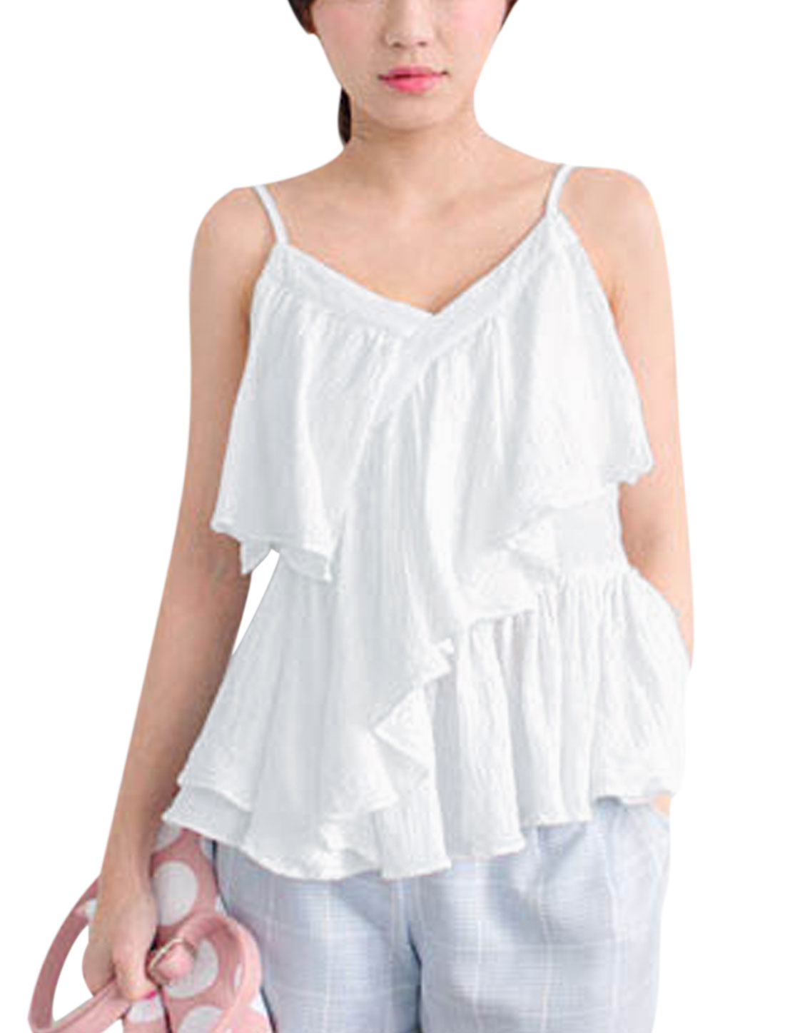 Lady Spaghetti Strap Flouncing Design Cami Top White XS