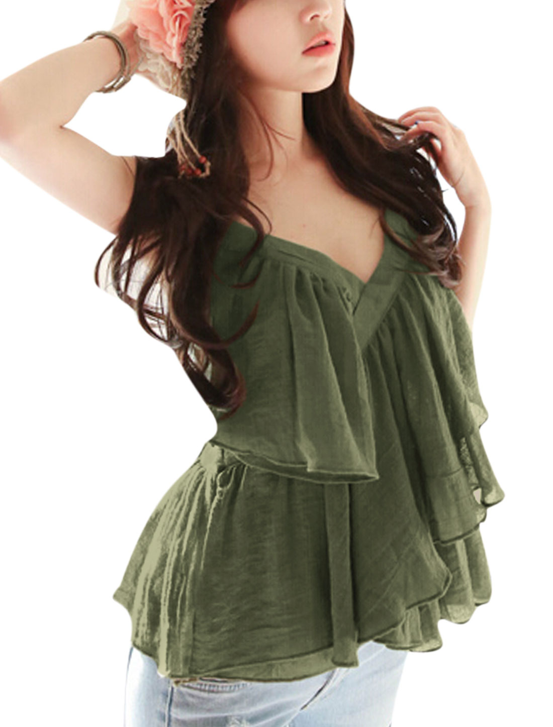 Lady Sleeveless Flouncing Design Casual Cami Top Army Green XS