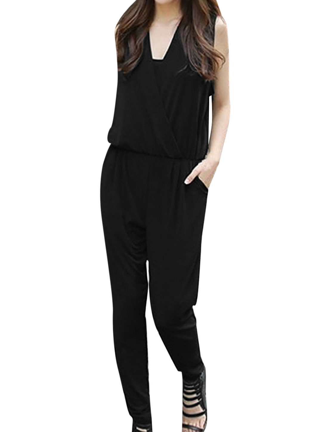 Lady Deep V Neck Elastic Waist Double Slant Pockets Front Jumpsuit Black S