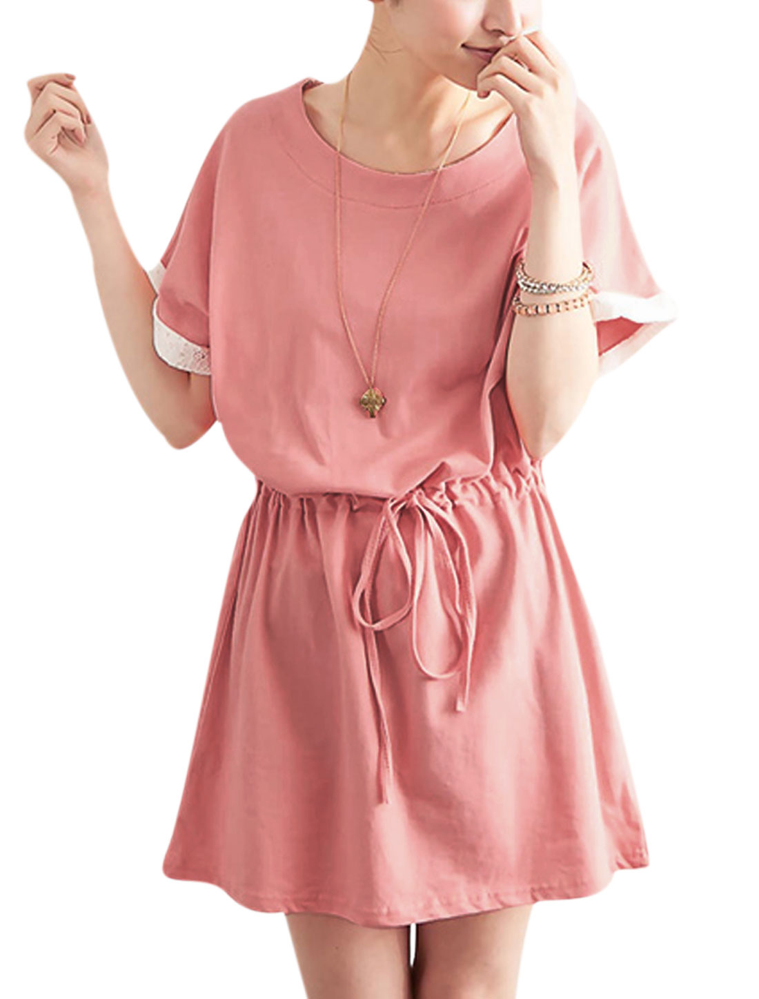 Lady Drawstring Waist Lace Detail Cozy Fit Tunic Dress Pink XS
