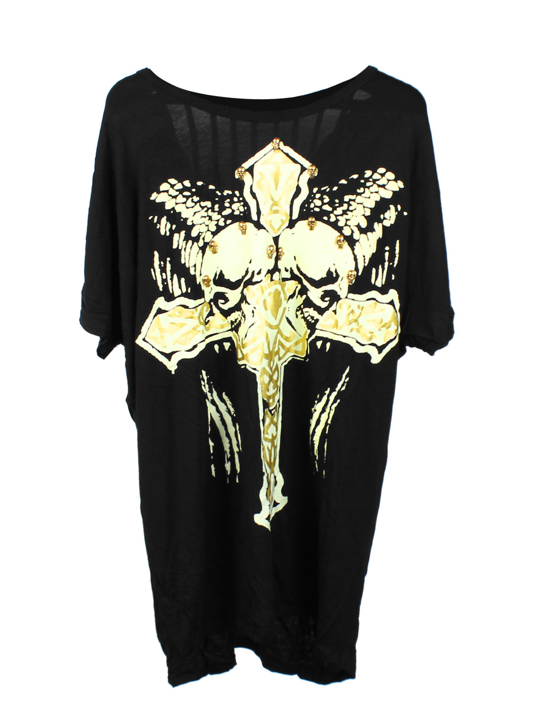 Lady Cross Prints Skull Metal Decor Mesh Panel Back Tunic Top Black S