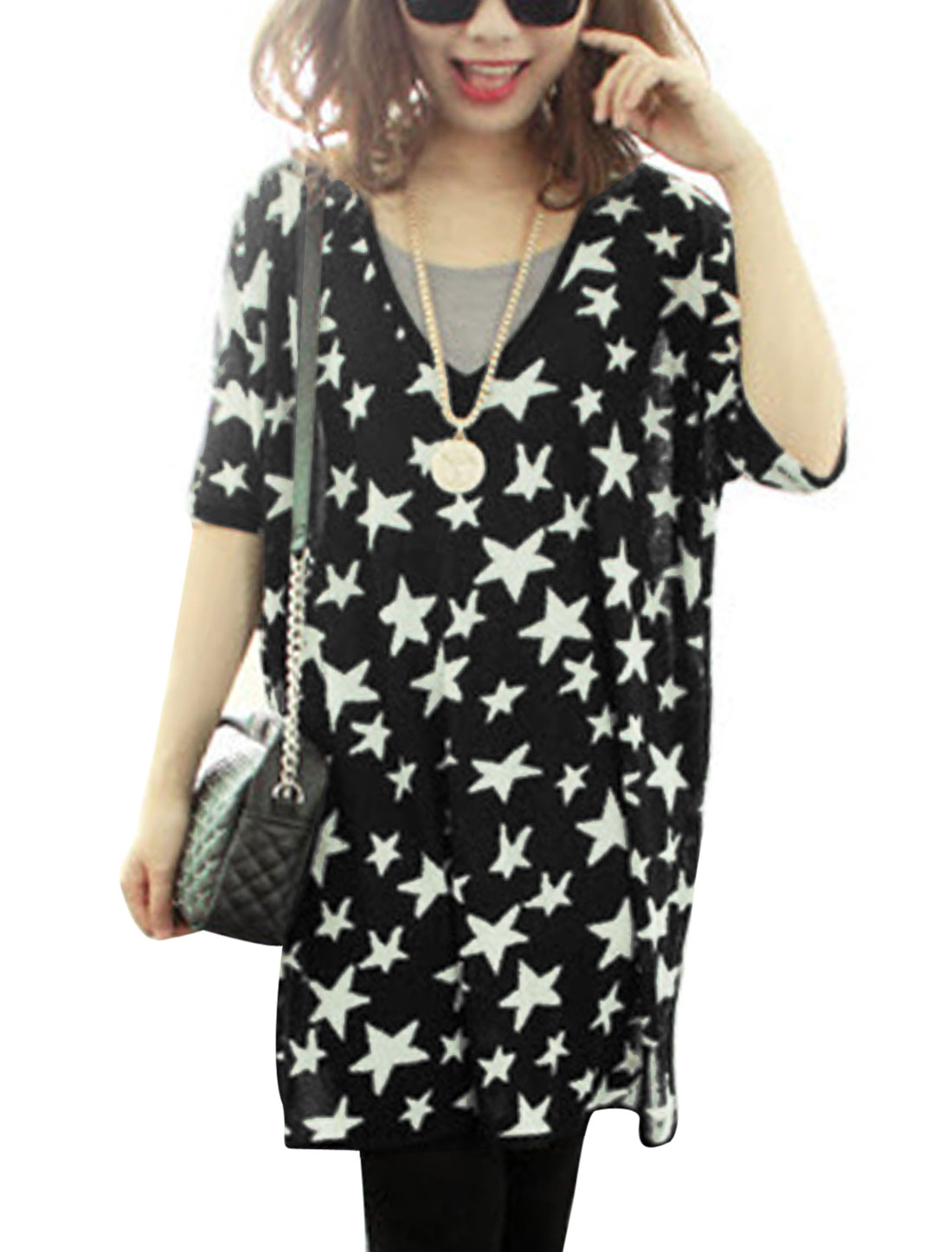 Women Stars Pattern Batwing Sleeve Split Side See Through Tunic Top Black White S