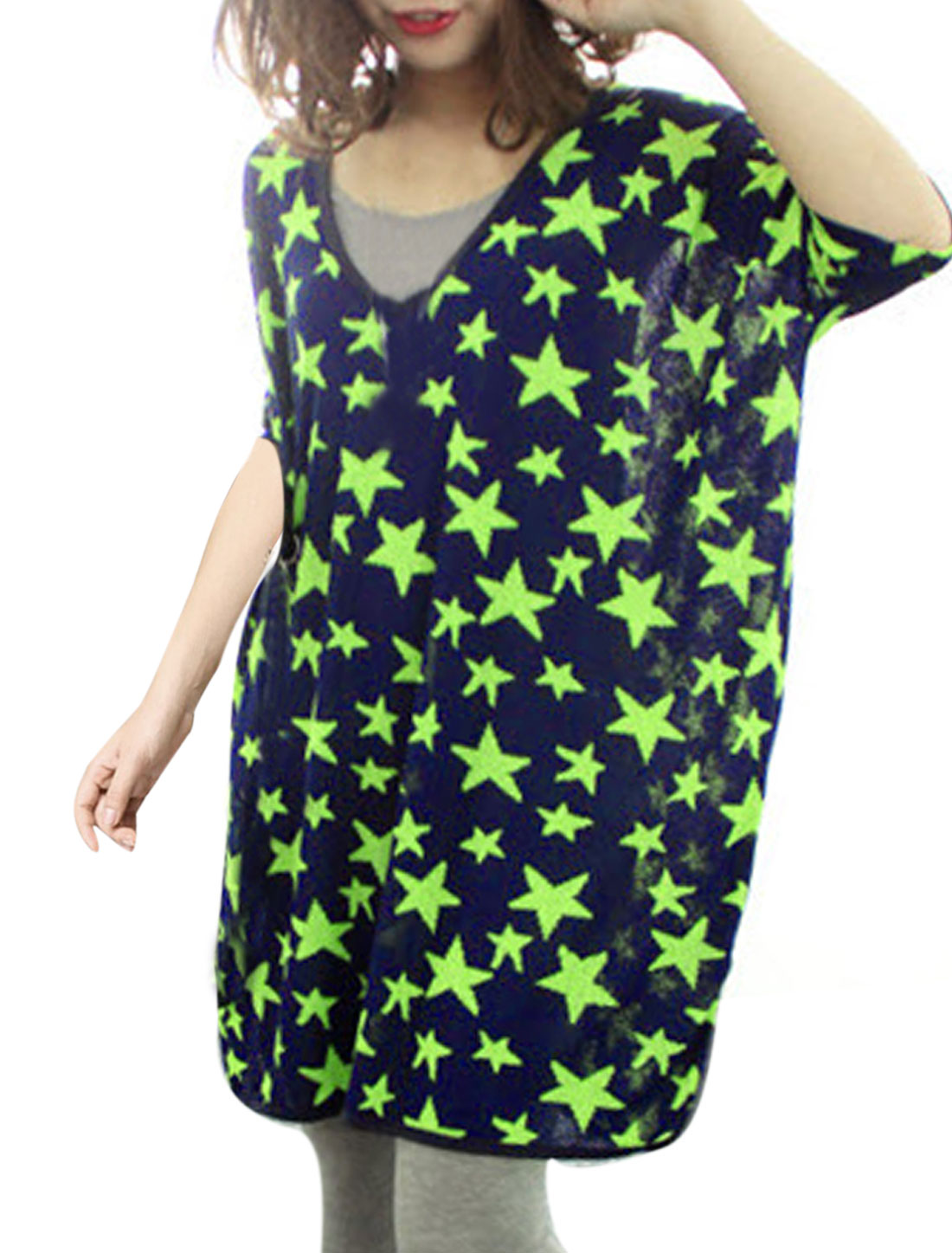 Lady Korean Style Pullover Stars Pattern Tunic Top Navy Blue Lime S