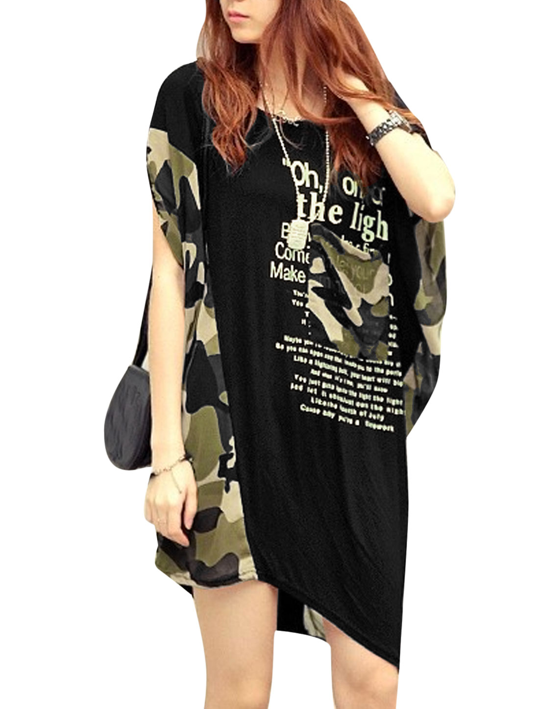 Lady Letters Camouflage Pattern Chiffon Panel Tunic Top Black S