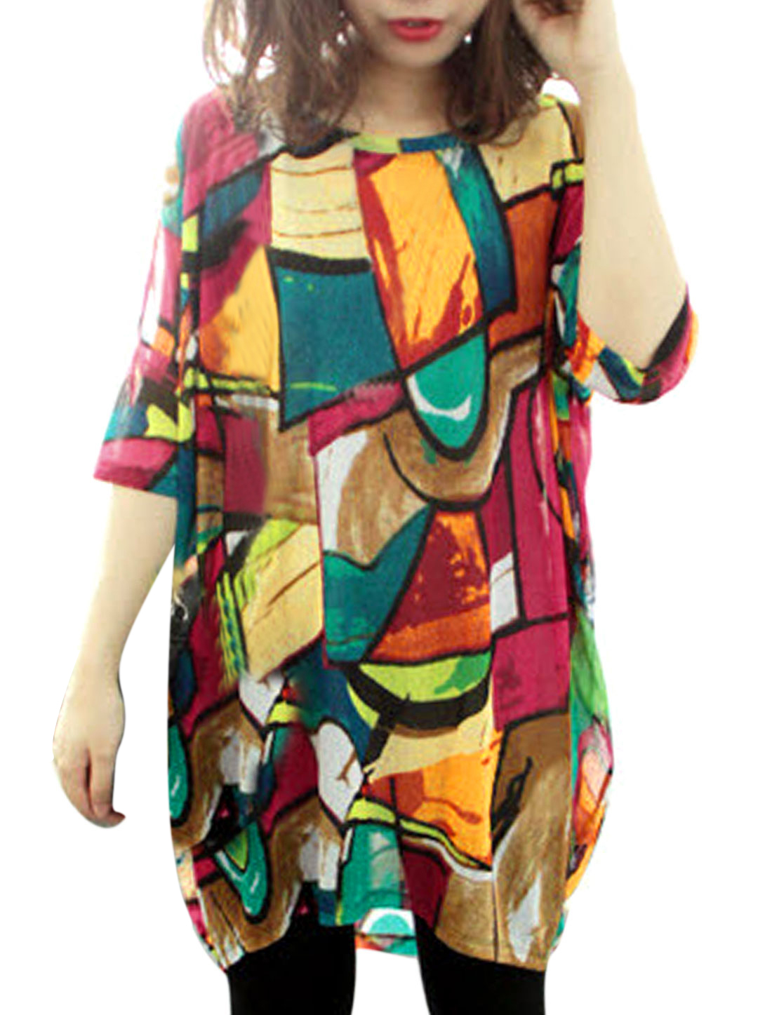 Women Geometric Pattern Batwing Sleeve Curve Hem Loose Tunic Top Multicolor S