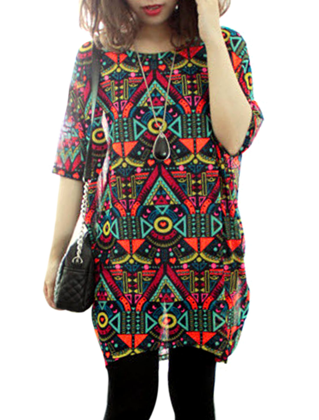 Women Batwing Sleeve Geometric Pattern Curve Hem Tunic Top Multicolor S