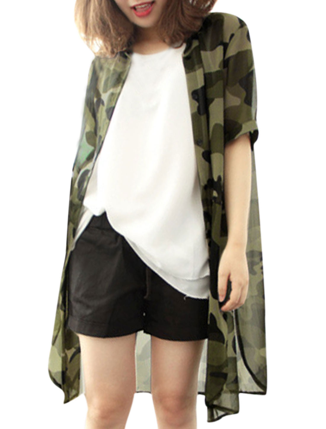 Women Camouflage Pattern Single Breasted Split Side Cardigan Army Green XS