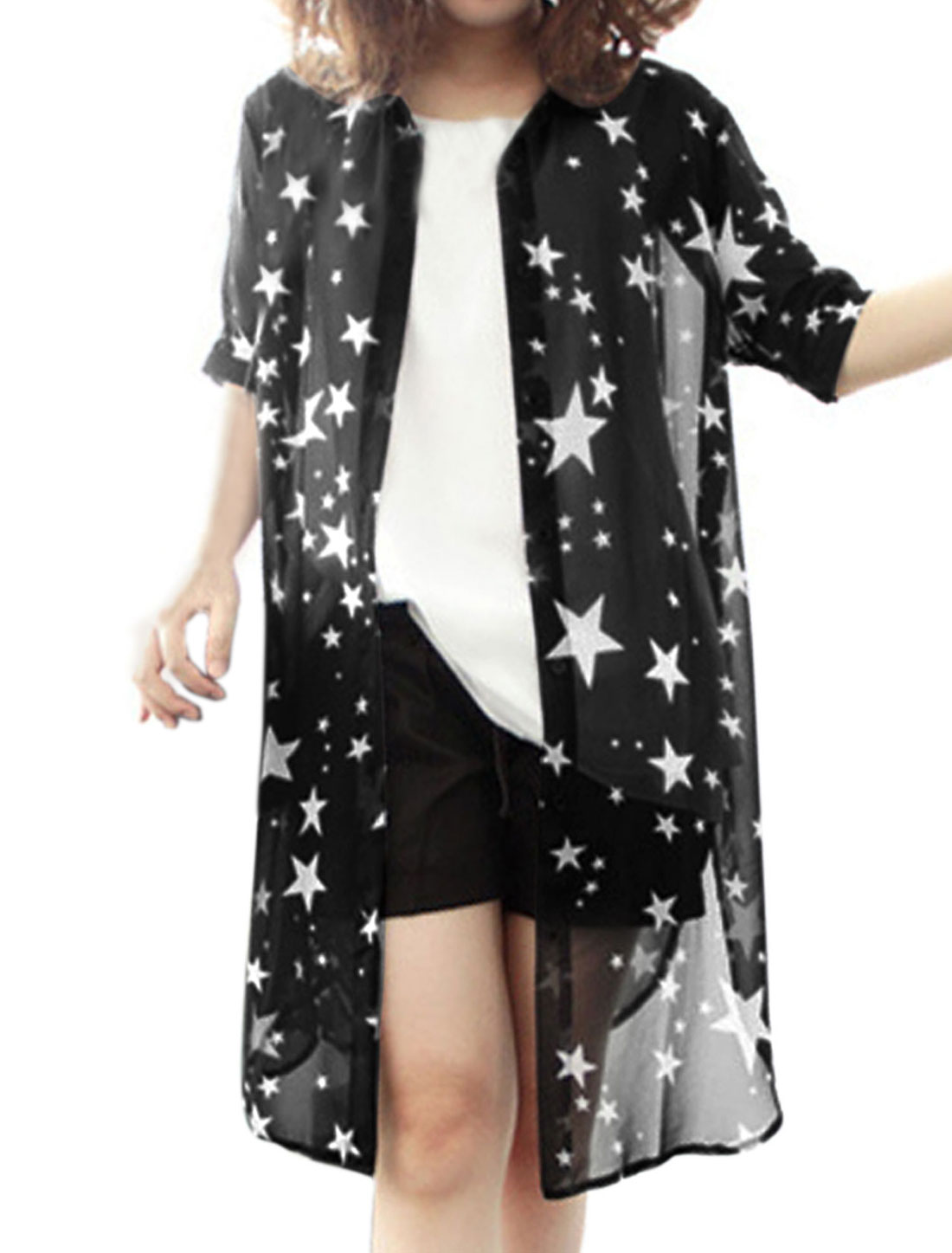 Lady Single Breasted Stars Prints Semi Sheer Split Side Cardigan Black XS