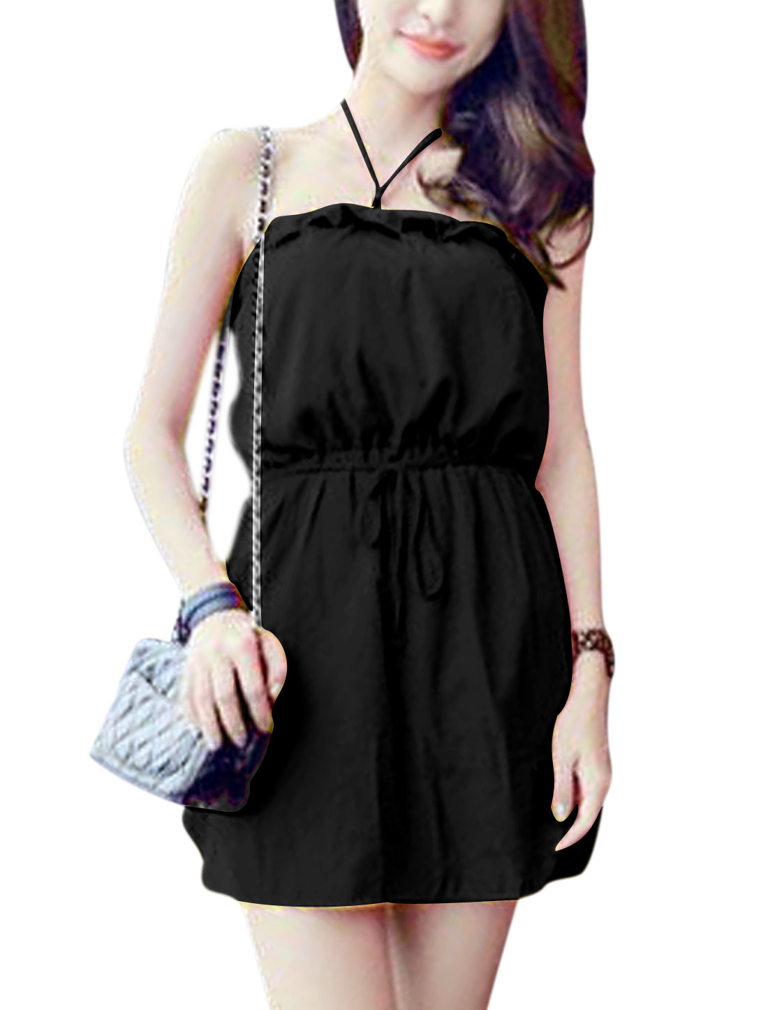 Lady Halter Neck Elastic Waist Unlined Dress w Waist String Black XS