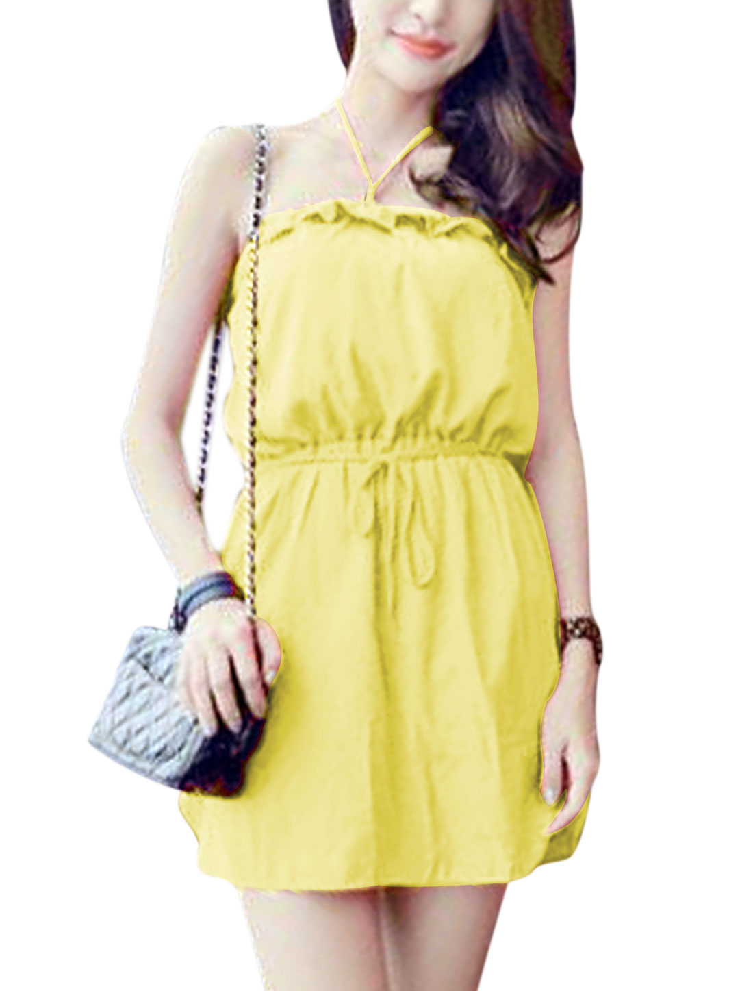 Lady Halter Neck Stretchy Waist Unlined Dress w Waist String Yellow XS