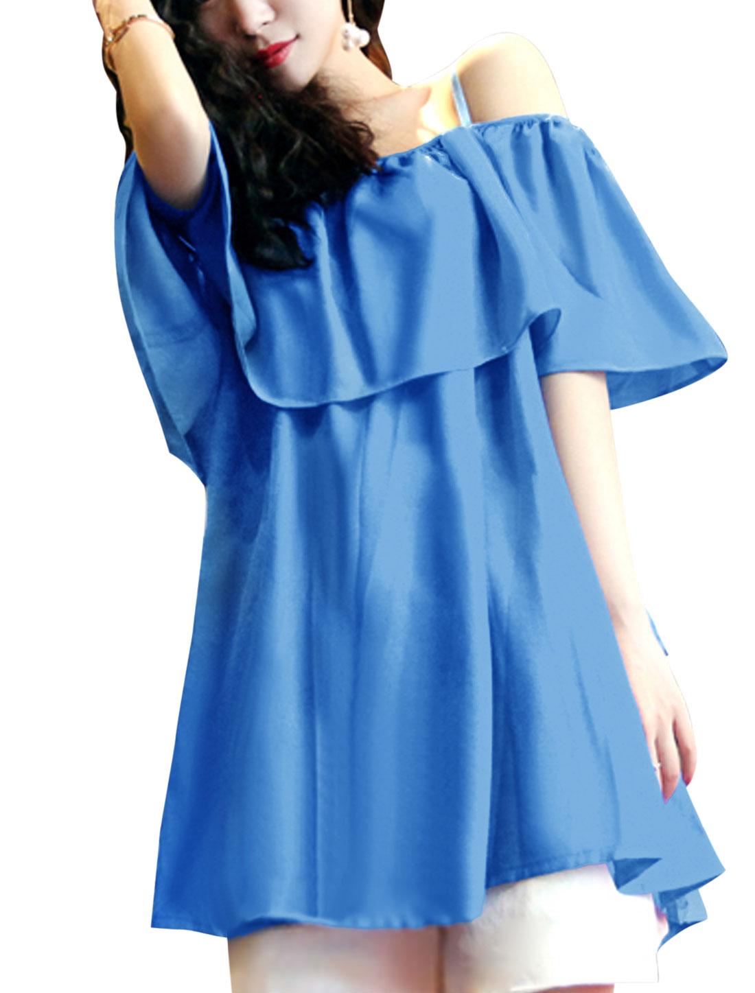 Lady Summer Spaghetti Strap Drawstring Waist Flouncing Tunic Top Blue L