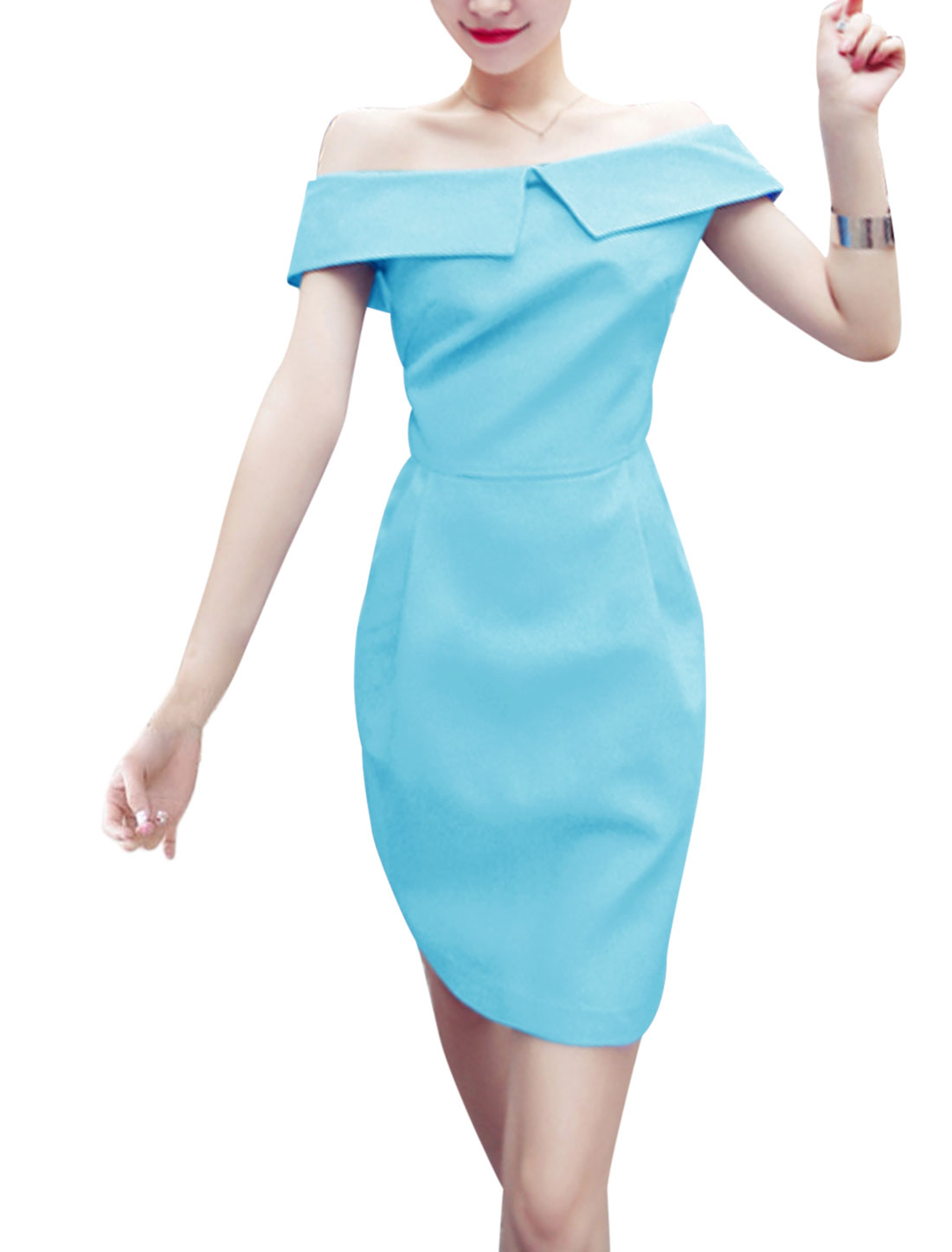 Lady Off Shoulder Concealed Zipper Side Sleeveless Shift Dress Sky Blue S