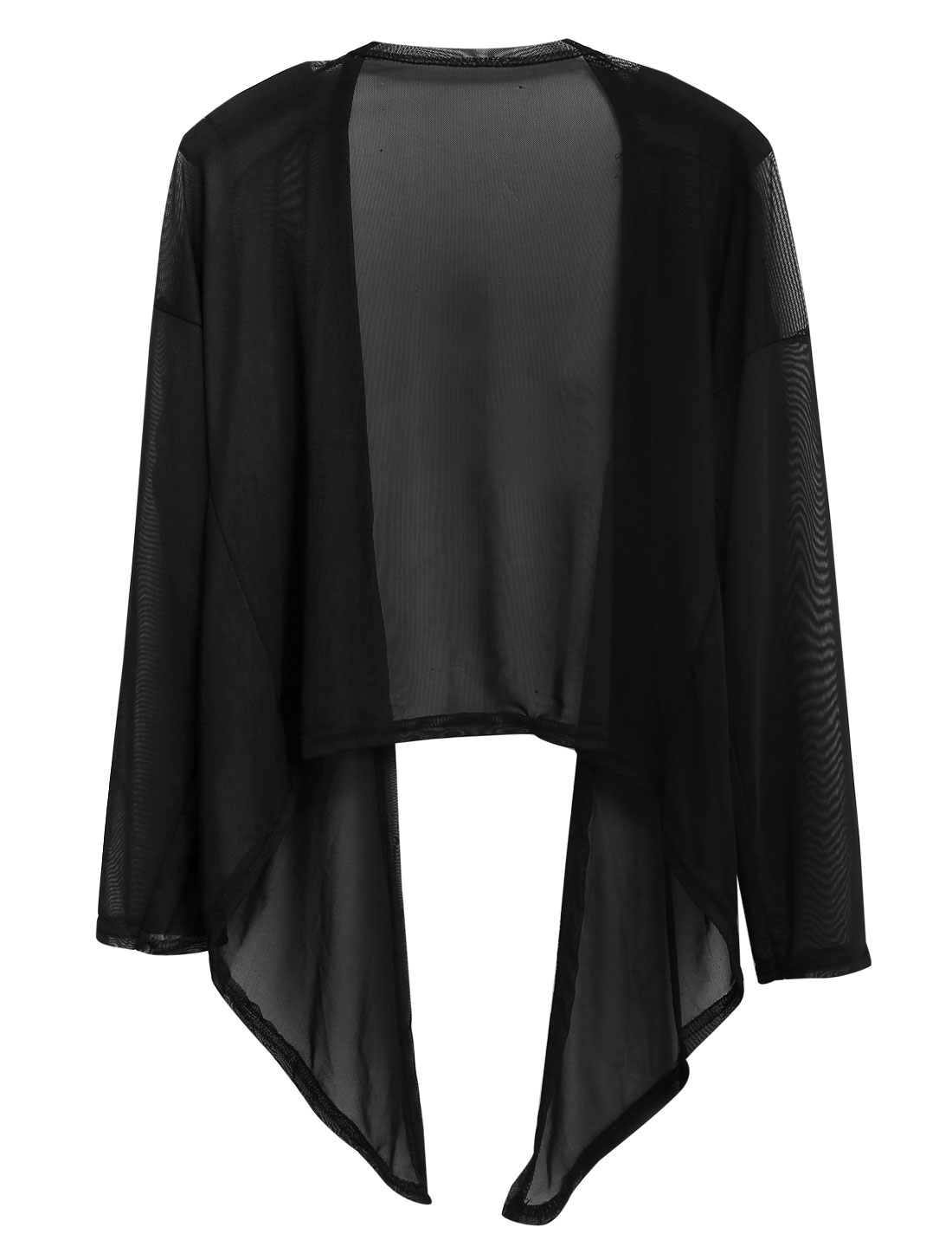 Lady Front Opening Asymmetric Hem Semi Sheer Casual Cardigan Black XS