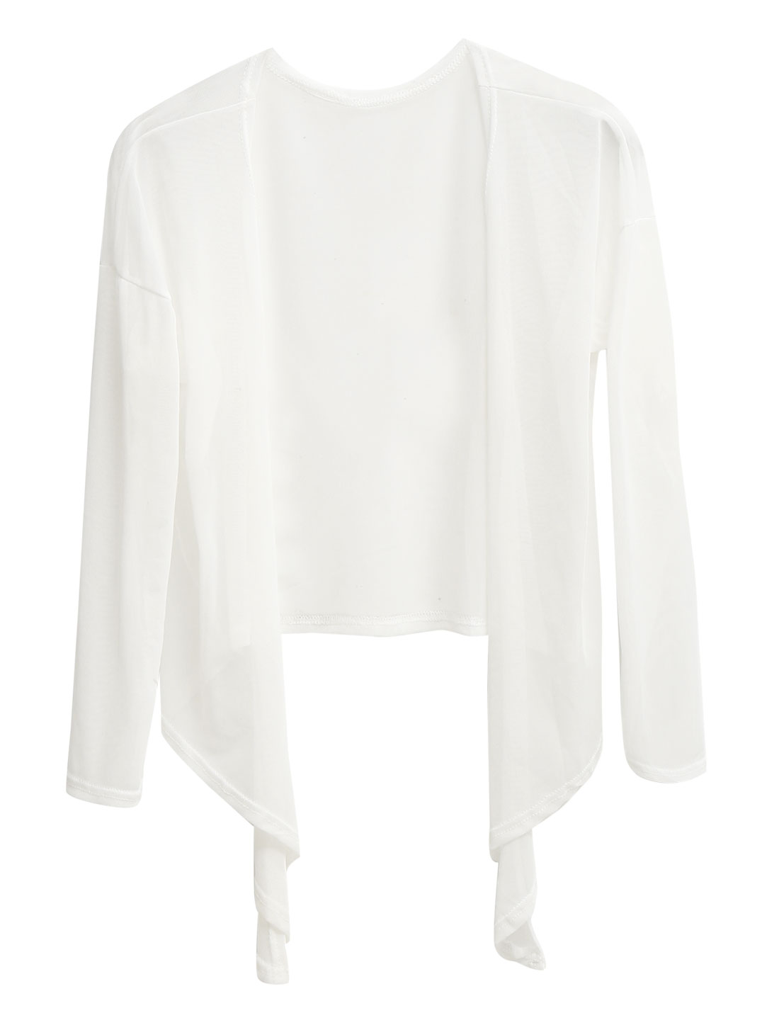 Women Front Opening See Through Tie Hem Casual Cardigan White XS